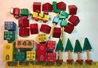 Adorable Colorful Vintage Wooden Blocks: Buildings, Trees, Train, Church, Town