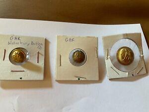 "3 brass, Antique GAR buttons, Waterbury Button Co, 2 back stamped. 3/4, 1/2"""