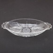 Clear Glass Leaf Pattern Butter Dish Oval Bowl