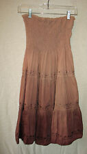 LANZ Woman's 100% Cotton Embroidered Beaded Strapless Dip Dyed Dress, Size M