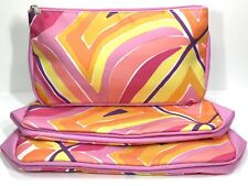 3pc Clinique Cosmetic Makeup Bags (Pink, Orange, purple, yellow)