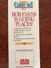 Rare Vtg 1987 Bob Evans Carry Out Menu