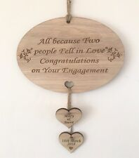 PERSONALISED ALL BECAUSE TWO PEOPLE FELL IN LOVE ENGAGEMENT PLAQUE