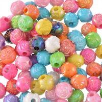 500 Mix Acryl Rund Rose Blumen Spacer Beads Kugeln Mehrfarbig Basteln 10mm L/P