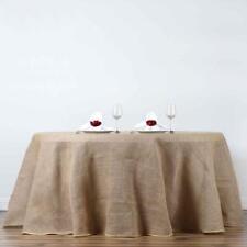 "120"" Round Rustic Burlap Tablecloth - Natural Tone - Wedding Banquet Party Décor"