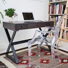 Home Office Furniture 3-Drawer Cross-Legs Dark Brown Wood Writing Desk