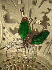 leadlight suncatcher - butterfly - green and clear textured stained glass