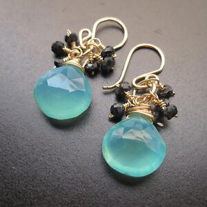 Sea Blue Chalcedony, Black Onyx Wire Wrapped Gemstones Earrings Handmade