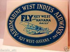 Aeromarine West Indies Vintage Style Travel Decal / Vinyl Sticker, Luggage Label