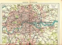 c. 1890 UK ENGLAND LONDON DOWN TOWN CITY PLAN  Antique Map