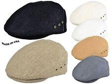 Summer Cool Woven 100% linen newsboy ivy cap hat snap brim cabbie made in usa