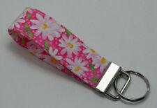 Daisies White on Pink Key Chain Ring Fob Handmade Custom Designer
