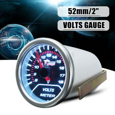 "2"" 52MM UNIVERSAL CAR AUTO MOTOR white LED VOLTAGE VOLT GAUGE METER SMOKE /"