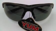 YUM Polarized ballistic style FISHING Sunglasses BLACK frame/SMOKE Lens