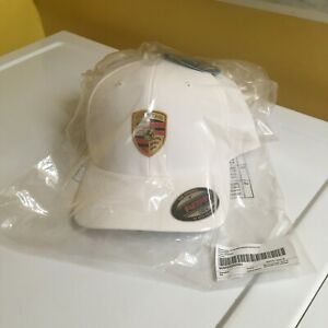 PORSCHE DESIGN DRIVER'S SELECTION FLEX FIT FULL COLOR CRESTED WHITE HAT. NIB.