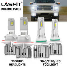 LASFIT H13 9008 LED Headlight+9145 Fog Light Combo Pack for Ford F-150 2004-2014