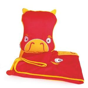 Kid's Travel Pillow and Cosy Fleece Blanket - Snoozihedz Red Dragon - Save 50%