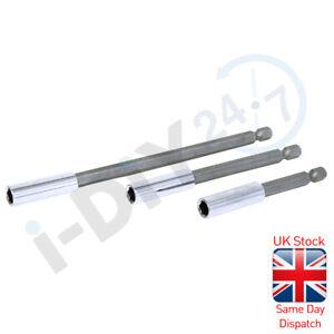 "3pc Magnetic Bit Holder Set 75mm 100mm 150mm Extension Bars CRV 1/4"" Hex Shank"