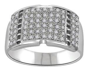 Pave Set Mens Engagement Ring VVS1 E 0.70 Ct Natural Diamond 14K Solid Gold