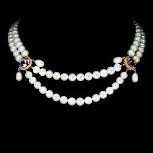 Unheated Oval Amethyst 12x10mm Pearl White Topaz 925 Sterling Silver Necklace