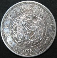1885 | Japan Counter-Marked One Yen 'Gin Mint Mark' | Silver | Coins | KM Coins