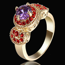 Women's Size 8 Fashion Amethyst 10KT Gold Plated Bridal Anniversary Ring Gift