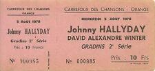 RARE / BILLET TICKET CONCERT - JOHNNY HALLYDAY A ORANGE ( FRANCE ) AOUT 1970