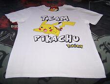 Pokemon Mens Team Pikachu White Printed Short Sleeve T Shirt Size XL New