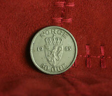 1953 Norway 50 Ore Copper Nickel World Coin Norge Scandinavian Lion Shield