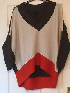 Ladies River Island V Neck Oversized Jumper Size M