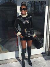 Mint Hugo Boss distressed Black Patent leather shearling lamb Fur Coat jacket S