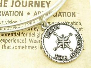 Wind and Fire Enjoy The Journey Charm Silver Wire Bangle Stackable Bracelet Gift