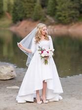2018 New Women's High Low Beach A Line Satin Wedding Dresses Bridal Gowns Custom