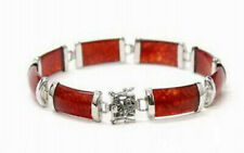 New Fashion Red Jade White Gold Plated Fortune Lucky Link Clasp Bangle Bracelet