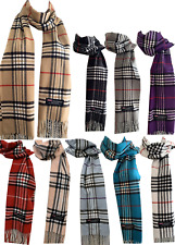 100% Cashmere Womens Mens Winter Wool Wrap Scarf Plaid Scarves Made in Scotland