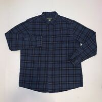 Eddie Bauer Flannel Long Sleeve Blue Black, Tan, Gray Button Down Men's Size XLT