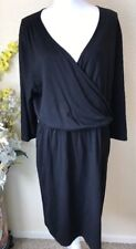 5aa1496a091a Boden Womens Us 16 Black V Neck Faux Wrap Dress Midi