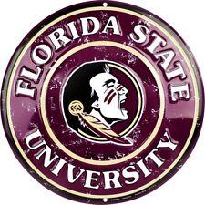 """Florida State Seminoles 12"""" Redondo Metal Sign ↔ Universidad Deportes Decoración habitación estudiantil"""