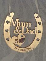 Personalised Mum & Dad 50th GOLD WEDDING ANNIVERSARY Horseshoe gift inc GIFT BAG