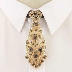 Men's Women's Crystal Glitter Metal Tie Luxurious Wedding Party Rhinestone
