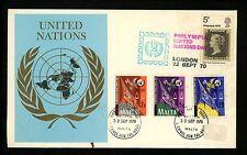 Postal History Malta Scott #420-422 FDC Dual GB UN Justice Law Scales 9/30/1970