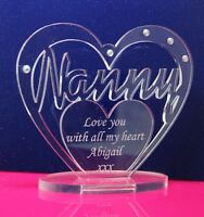 Personalised Heart with for Nanny, Nan Gran, Grandma, Birthday, Christmas Gift