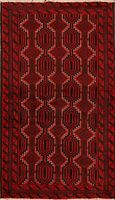 Tribal Geometric Balouch Afghan Area Rug 3'x6' Hand-Knotted Wool Oriental Carpet