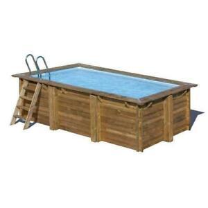 Gre Sunbay Pool-Set Schwimmbecken rechteckiger Holzpool Marbella 400x250x119 cm