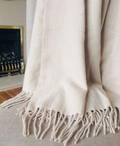 100% Cashmere Throw Blanket Large Shawl Beige Vast Land Luxury BNWT