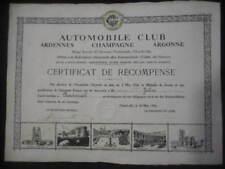 Certificat récompense 1926 Automobile Club Ardennes Champagne Argonne ACF