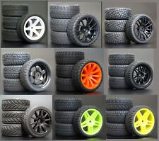 1/10 Onroad Touring Rc Car Wheels & Rubber Tires Set for Tamiya tt01 tt02 tt01e