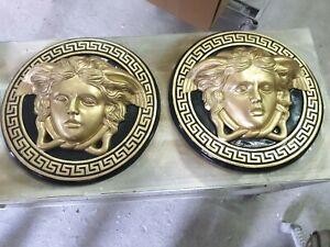 2xDeko Relief Medusa Kopf Wandrelief Antik Look 20cm