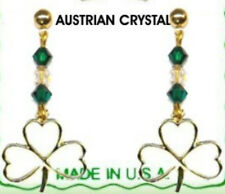 Irish Shamrock Dangle Earrings With 6 Crystal Stones Gold Plate NEW