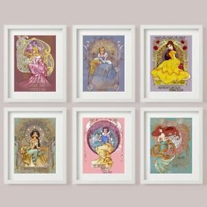 DISNEY PRINCESS SET 6 Picture Print Colour Cinderella SNOW WHITE Aurora Ariel